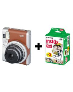 Fujifilm Instax Mini 90 NEO Classic Camera Bundle with 20 Shots - Brown