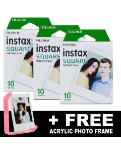 Fujifilm Instax SQUARE Instant Film TRIPLE PACK + FREE Acrylic Frame