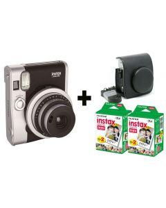 Fujifilm Instax Mini 90 NEO - Black + 40 Shots + Vintage Black Case