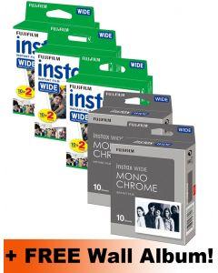 Fujifilm Instax WIDE Film 80 Shots Pack (60 Colour + 20 Mono) + FREE Wall Album