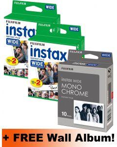 Fujifilm Instax WIDE Film Bundle Pack (40 Shots Colour + 10 Shots Monochrome) + FREE Wall Album